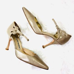 Manolo Blahnik Gold Scroll Ankle Strap Heels 38.5
